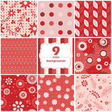 Flower and polka dots backgrounds set Stock Photography