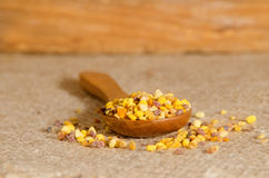 Flower pollen on a wooden spoon Royalty Free Stock Photography