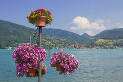 Flower post with petunias, view to lake tegernsee Royalty Free Stock Photography