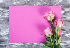 Flower Postcard witn Empty Sheet of Paper Royalty Free Stock Photos