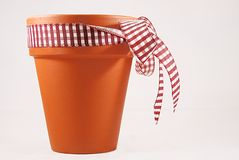 Flower pot. With a nice bow isolated on white Royalty Free Stock Photos