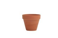 Flower pot. Empty terracotta flower poton a white background stock image