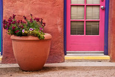 Flower pot against terracotta wall Stock Photos