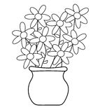 Flower Pot Coloring Page Royalty Free Stock Photos