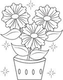 Flower pot coloring page Royalty Free Stock Images