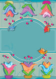 Flower Pot Decor Space_eps. Illustration of big flower with pink and birds decor. Can rotate it to use Royalty Free Stock Image