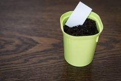 Flower pot with earth and white paper for writing the date and name of the plant. Plastic flower pot with ground and white paper for writing the date and name of stock images