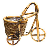 Flower pot in the form of a cart on a white Stock Photography