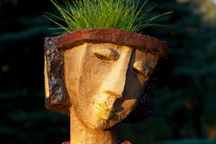 The flower pot. In the form of the feminine head royalty free stock image