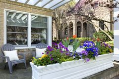 Flower pot on front porch of home Stock Image