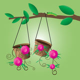 Flower pot hanging on a tree. Vector illustration Royalty Free Stock Photography