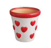 Flower pot with hearts Royalty Free Stock Image