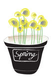Flower pot illustration. Flower pot with yellow little spring flowers and a space on the pot where you can write something Stock Image