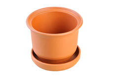Flower pot. Isolated on white Royalty Free Stock Photography