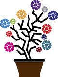 Flower pot logo Stock Images