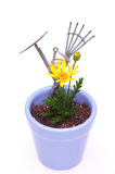 Flower Pot and Rake Royalty Free Stock Photography