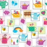 Flower pot seamless wallpaper design Royalty Free Stock Photos