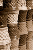 Flower pot in sepia Royalty Free Stock Photos