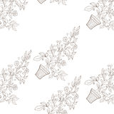 Flower in pot sketch. Seamless pattern Stock Photo