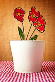 Flower pot with sketched flower Stock Photos