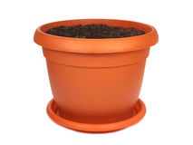 Flower pot with soil Stock Photos