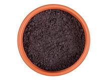 Flower pot with soil Stock Photo
