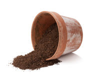 Flower Pot Spilling Dirt   Stock Photography