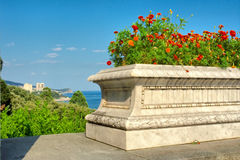 Flower pot on terrace against sea and mediterranean-type park Royalty Free Stock Photo