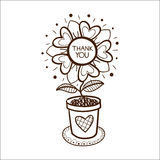 Flower in a pot with thank you text. Royalty Free Stock Photo
