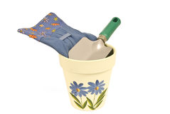 Flower Pot, Trowel and Gloves Royalty Free Stock Image
