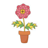 Flower in pot vector illustration. Colorful house plant pink flower in pot cute vector illustration Stock Image