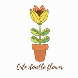 Flower in pot vector illustration Royalty Free Stock Images