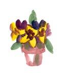 Flower-pot verniciato in acquerello Fotografia Stock