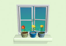 Flower pot on window Royalty Free Stock Photos