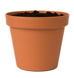 Flower Pot With Soil Royalty Free Stock Photos