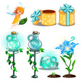 Flower potion, growing plants, gift box and fairy. Magic flower potion, growing plants, gift box and fairy. Set of cartoon images for games, childrens books and Royalty Free Stock Image
