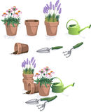 Flower Pots. With tools and watering can Royalty Free Stock Photo