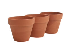 Flower pots. Empty terracotta flower pots on a white background Royalty Free Stock Images