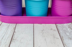 Flower pots with copy space stock photography