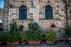 Flower pots in the courtyard Royalty Free Stock Photos