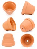 Flower pots. Decor on clay flower pots set Stock Images