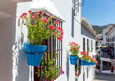 Flower pots in facades , Mijas Stock Photography