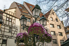 Flower pots on the historic center of Strasbourg Royalty Free Stock Images