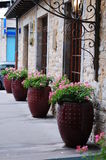 Flower pots near restaurant in the streets of Lyon, France Royalty Free Stock Photography