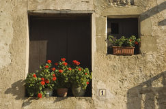 Flower pots in old windows at house number one Stock Photos