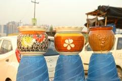Flower Pots at Roadside Workshop Royalty Free Stock Photo