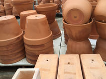 Flower pots selling at store Stock Image