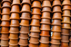 Flower pots stacked in rows Stock Photography