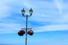 Flower pots street lights blue sky Stock Photos