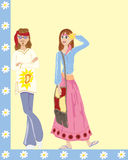 Flower power. A hand drawn illustration of male and female hippies with retro clothing on a blue and yellow background Royalty Free Stock Photo